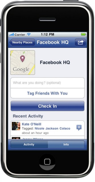 Facebook Places iPhone