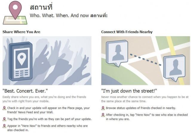 Facebook Places สถานที่