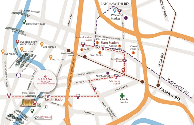 แผนที่โรงแรมแม่น้ำรามาดาพลาซ่า เจริญกรุง