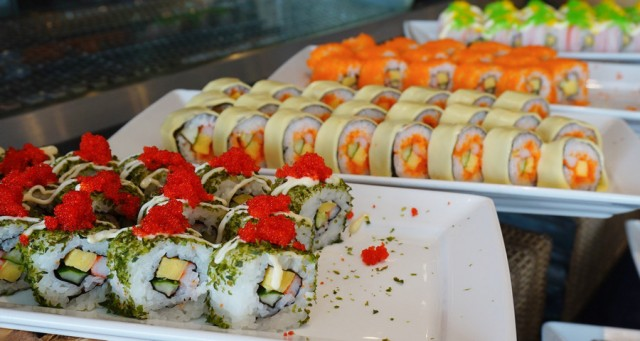 sushi roll at ramada plaza buffet